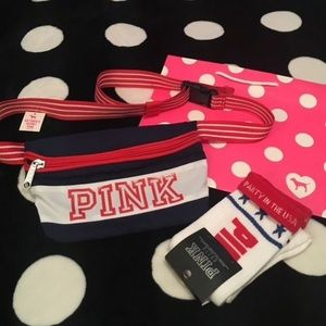 Victorias Secret PINK Red White Blue Fanny Pack🎁